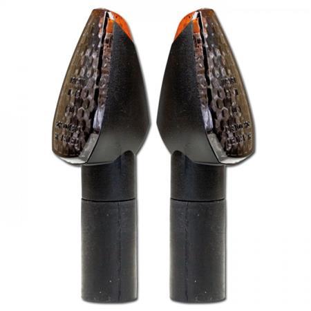 LED-Blinker PEAK 46mm schwarz getönt E-geprüft Paar M10 lang