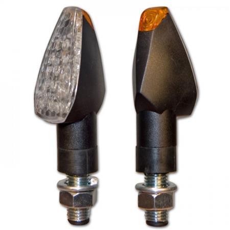 LED-Blinker PEAK 22mm schwarz klar E-geprüft Paar M10