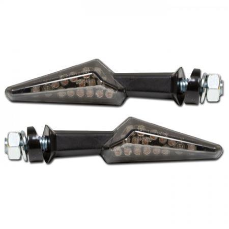 LED-Blinker Spike schwarz, getön. Glas, E-geprüft, M8, schräge Unterlegscheibe