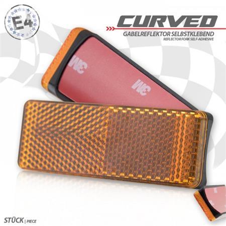 "Gabelklebereflektor ""Curved"", rechteckig, 85 x 31 x 13mm, selbstklebend, E-geprüft"