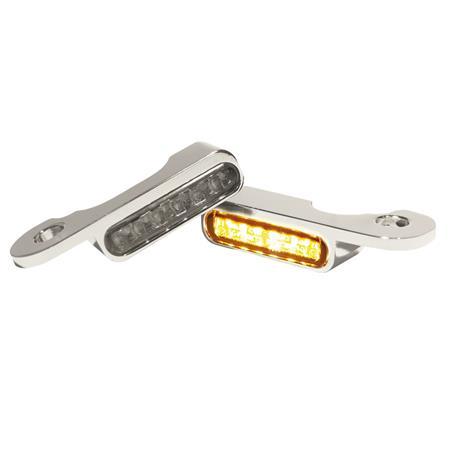 LED Armaturen Blinker für Harley Davidson Touring Modelle mit hydraulischer Kupplung silber