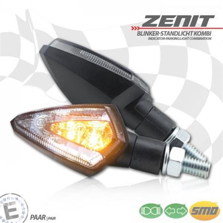 Universal Motorrad LED-Blinker Zenit mit Standlichtkombination getönt M8 E-geprüft