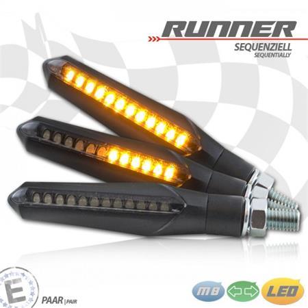 Universal Motorrad LED-Blinkerset Runner sequenziell Alu getönt M8 E-geprüft