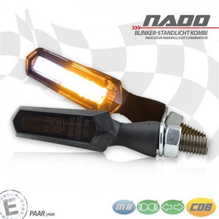Universal Motorrad COB-Blinker Nado mit Standlichtkombination Alu getönt M8 E-geprüft