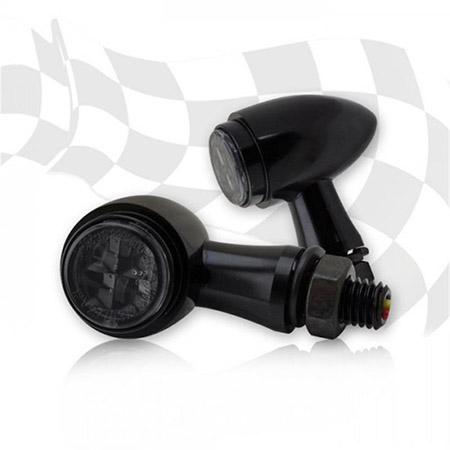 Universal Motorrad SMD-Blinker Shark schwarz ohne Zierring Alu getönt M8 E-geprüft