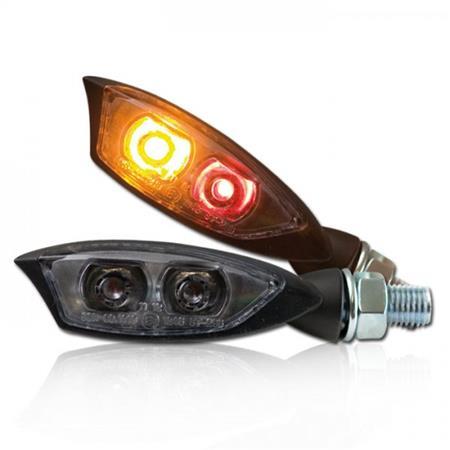 Universal Motorrad LED-Blinker Shadow mit Rücklichtkombination getönt M8 E-geprüft