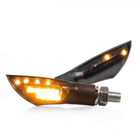 Universal Motorrad LED-Blinker Dual mit Blinkfunktion vorne und hinten getönt M8 E-geprüft