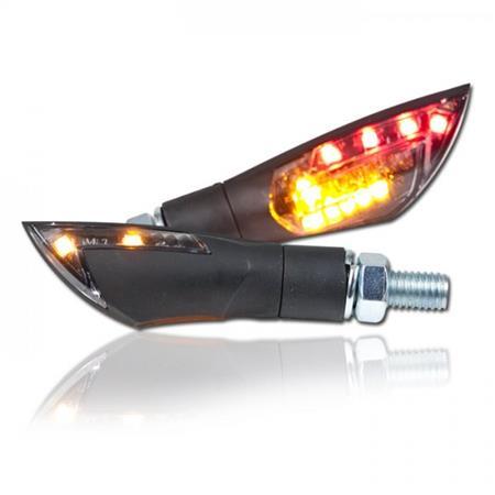Universal Motorrad LED-Blinker Dual mit Rücklichtfunktion getönt M8 E-geprüft