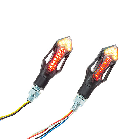 Universal Motorrad LED-Blinker Rush mit Rücklichtfunktion ABS getönt M8 E-geprüft
