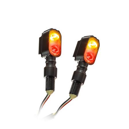 Universal Motorrad Power-LED-Blinker Fluted mit Rücklichtkombination getönt M10 E-geprüft