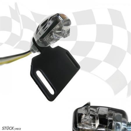 LED-Kennzeichenbeleuchtung Nano chrom klares Glas 12V/1,4W, E-geprüft inkl. Halter zur Befestigung von Kennzeichenbeleuchtung