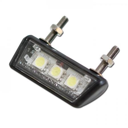 LED-Kennzeichenbeleuchtung Forty schwarz E-geprüft inklusive Halter zur zur Befestigung von Kennzeichenbeleuchtung