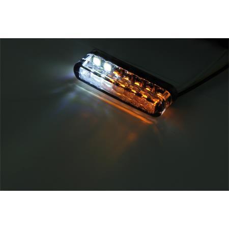 LED-Einbaublinker mit Positionslicht getönt mit Alugehäuse für Lenkerarmaturen in silber Paar E-gepr Typ1