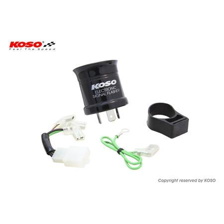 Blinkerrelais KOSO Digital, 12V, Stecker mit 3 Pins, inkl. Adapter, max. 15A, mit akustisches Signal