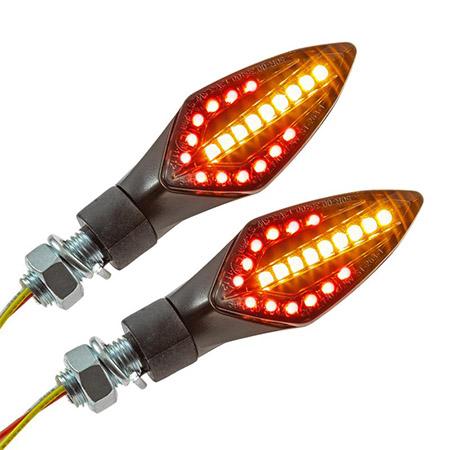 LED-Blinker sequenziell integriertes Rück- und Bremslicht schwarz getönt Glas M10 E-geprüft