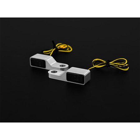 LED-Blinker getönt mit Alugehäuse für Lenkerarmaturen in silber Paar E-gepr Typ3
