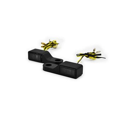 LED-Blinker getönt mit Alugehäuse für Lenkerarmaturen in Schwarz Paar E-gepr Typ3