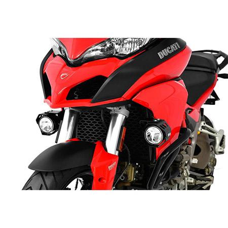 LED Zusatzscheinwerfer inkl. Halteset für Nebel (Paar) mit Gehäuse für Ducati Multistrada 1200 BJ 2015-18