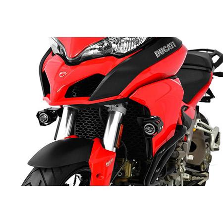LED Zusatzscheinwerfer inkl. Halteset für Ablendlicht (Paar) mit Gehäuse für Ducati Multistrada 1200 BJ 2015-18
