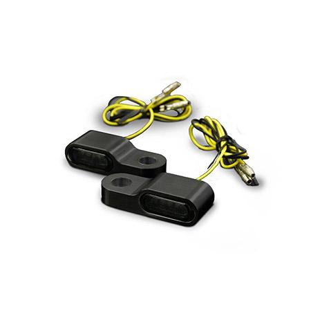 LED-Blinker getönt mit Alugehäuse für Lenkerarmaturen in Schwarz Paar E-gepr Typ2