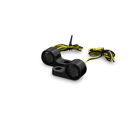 LED-Blinker getönt mit Alugehäuse für Lenkerarmaturen in Schwarz Paar E-gepr Typ4