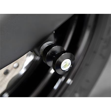 1 Paar Ständeraufnahme Alu M8 glänzend Motorrad Bobbin Adapter schwarz