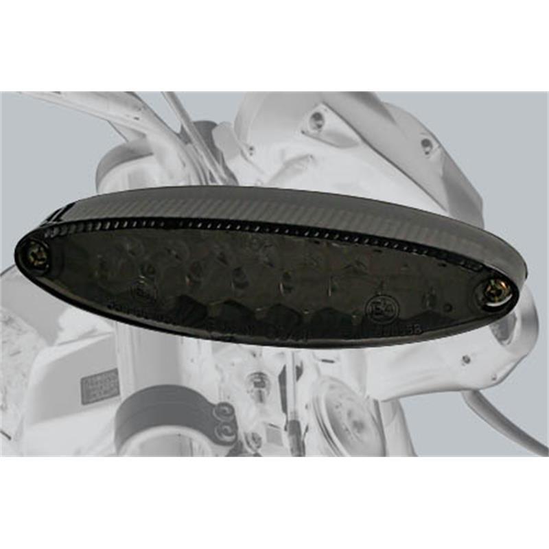 Universal Motorrad LED-Mini-Rücklicht NUMBER1, getöntes Glas, mit Nummernschildbeleuchtung