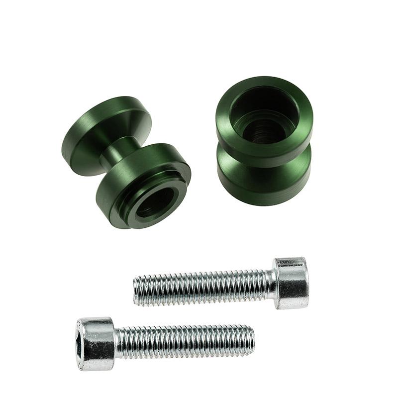 Bobbins / Racingadapter Montageständer M10 x 1,25 grün (mit Distanzhülse)